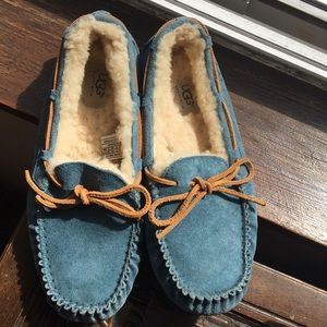 UGG Blue Suede Slippers size 9